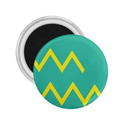 Waves Chevron Wave Green Yellow Sign 2 25  Magnets by Mariart