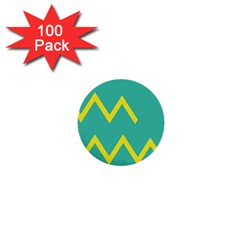 Waves Chevron Wave Green Yellow Sign 1  Mini Buttons (100 Pack)  by Mariart