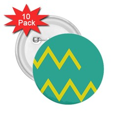 Waves Chevron Wave Green Yellow Sign 2 25  Buttons (10 Pack)