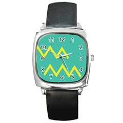 Waves Chevron Wave Green Yellow Sign Square Metal Watch by Mariart