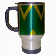 Waves Chevron Wave Green Yellow Sign Travel Mug (silver Gray) by Mariart