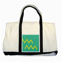 Waves Chevron Wave Green Yellow Sign Two Tone Tote Bag by Mariart