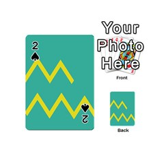 Waves Chevron Wave Green Yellow Sign Playing Cards 54 (mini)