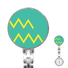 Waves Chevron Wave Green Yellow Sign Stainless Steel Nurses Watch by Mariart