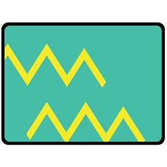 Waves Chevron Wave Green Yellow Sign Double Sided Fleece Blanket (large)  by Mariart