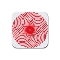 Spiral Red Polka Star Rubber Square Coaster (4 Pack)  by Mariart