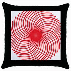 Spiral Red Polka Star Throw Pillow Case (black) by Mariart