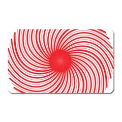 Spiral Red Polka Star Magnet (rectangular) by Mariart