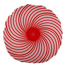 Spiral Red Polka Star Large 18  Premium Round Cushions by Mariart
