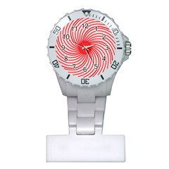 Spiral Red Polka Star Plastic Nurses Watch by Mariart