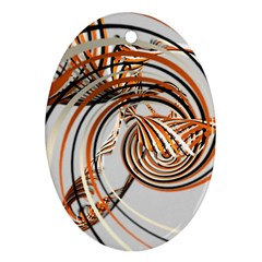 Splines Line Circle Brown Oval Ornament (two Sides) by Mariart