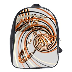 Splines Line Circle Brown School Bag (large)