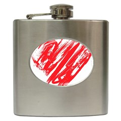 Valentines Day Heart Modern Red Polka Hip Flask (6 Oz) by Mariart