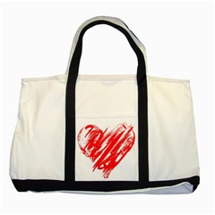 Valentines Day Heart Modern Red Polka Two Tone Tote Bag