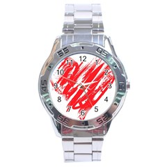 Valentines Day Heart Modern Red Polka Stainless Steel Analogue Watch by Mariart
