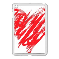 Valentines Day Heart Modern Red Polka Apple Ipad Mini Case (white)