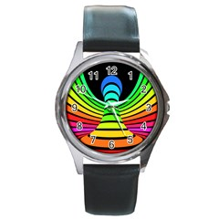 Twisted Motion Rainbow Colors Line Wave Chevron Waves Round Metal Watch by Mariart
