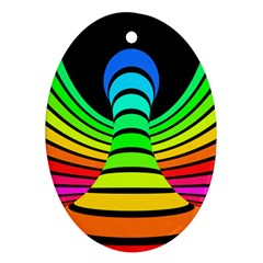 Twisted Motion Rainbow Colors Line Wave Chevron Waves Oval Ornament (two Sides) by Mariart