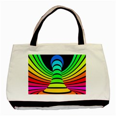 Twisted Motion Rainbow Colors Line Wave Chevron Waves Basic Tote Bag (two Sides) by Mariart