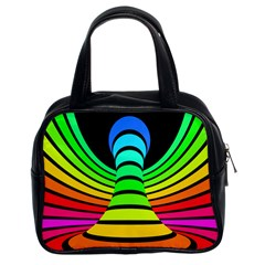 Twisted Motion Rainbow Colors Line Wave Chevron Waves Classic Handbags (2 Sides) by Mariart