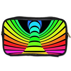 Twisted Motion Rainbow Colors Line Wave Chevron Waves Toiletries Bags by Mariart