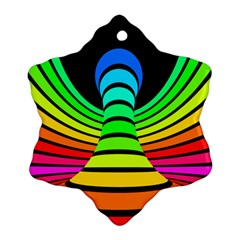 Twisted Motion Rainbow Colors Line Wave Chevron Waves Ornament (snowflake) by Mariart