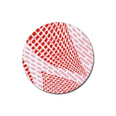Waves Wave Learning Connection Polka Red Pink Chevron Rubber Round Coaster (4 Pack)  by Mariart