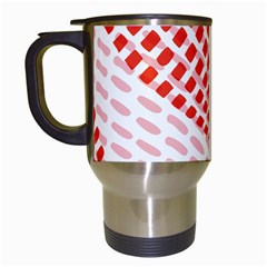 Waves Wave Learning Connection Polka Red Pink Chevron Travel Mugs (white) by Mariart