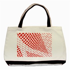 Waves Wave Learning Connection Polka Red Pink Chevron Basic Tote Bag (two Sides) by Mariart