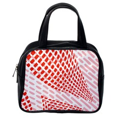Waves Wave Learning Connection Polka Red Pink Chevron Classic Handbags (one Side) by Mariart