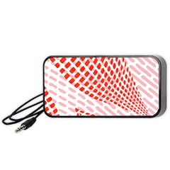Waves Wave Learning Connection Polka Red Pink Chevron Portable Speaker (black) by Mariart