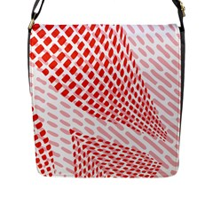 Waves Wave Learning Connection Polka Red Pink Chevron Flap Messenger Bag (l)  by Mariart