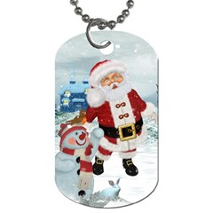 Funny Santa Claus With Snowman Dog Tag (two Sides) by FantasyWorld7