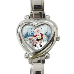 Funny Santa Claus With Snowman Heart Italian Charm Watch