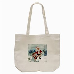 Funny Santa Claus With Snowman Tote Bag (cream) by FantasyWorld7