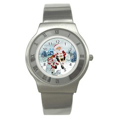 Funny Santa Claus With Snowman Stainless Steel Watch by FantasyWorld7