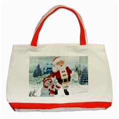 Funny Santa Claus With Snowman Classic Tote Bag (red) by FantasyWorld7