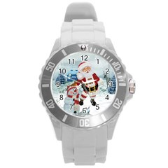 Funny Santa Claus With Snowman Round Plastic Sport Watch (l) by FantasyWorld7