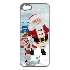 Funny Santa Claus With Snowman Apple Iphone 5 Case (silver) by FantasyWorld7