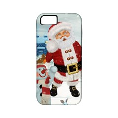 Funny Santa Claus With Snowman Apple Iphone 5 Classic Hardshell Case (pc+silicone) by FantasyWorld7