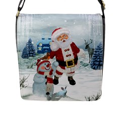 Funny Santa Claus With Snowman Flap Messenger Bag (l)  by FantasyWorld7