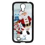 Funny Santa Claus With Snowman Samsung Galaxy S4 I9500/ I9505 Case (Black) Front