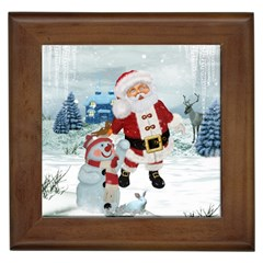 Funny Santa Claus With Snowman Framed Tiles by FantasyWorld7