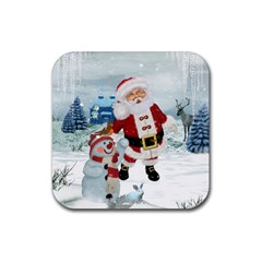Funny Santa Claus With Snowman Rubber Coaster (square)  by FantasyWorld7