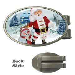 Funny Santa Claus With Snowman Money Clips (oval)  by FantasyWorld7