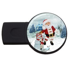 Funny Santa Claus With Snowman Usb Flash Drive Round (4 Gb) by FantasyWorld7
