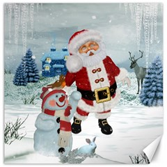 Funny Santa Claus With Snowman Canvas 20  X 20   by FantasyWorld7