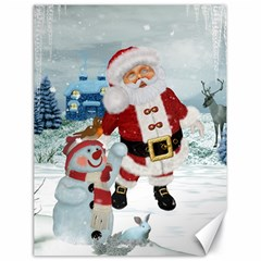 Funny Santa Claus With Snowman Canvas 18  X 24   by FantasyWorld7