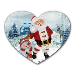 Funny Santa Claus With Snowman Heart Mousepads by FantasyWorld7