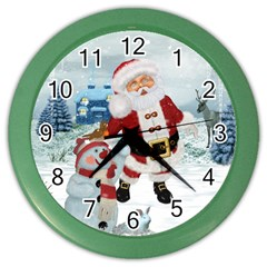 Funny Santa Claus With Snowman Color Wall Clocks by FantasyWorld7